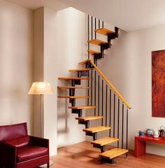 I am such a staircase lover!😍 Nothing makes a statement like such a compact a. Small Staircase, Loft Staircase, House Stairs, Staircase Design, Wooden Staircases, Stairways, Modern Stairs, Interior Stairs, Small Spaces