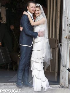 EXCLUSIVE: Jennifer Aniston, Cameron Diaz, Lance Armstrong and Many More Stars Attend Lake Bell's Wedding!: Lake Bell posed for photos with her new husband, Scott Campbell.