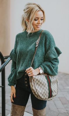 #winter #outfits green sweater and blue denim bottoms