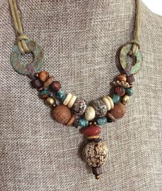 Organic Mahogany Pod Tribal Beads and Carnelian - Natural Turquoise Stones - Primitive Natural Fibers Necklace by HollyoftheEarth on Etsy