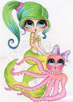 Mary et Cuddles Fine Art Print-Mermaid, Mes Besties