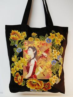 Fun Fantasy Black Goth Tote Bag Hand Painted by paulagsell on Etsy, $64.00