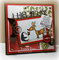 Jessie Knightrone: Can You Say…Addicted to Stamps? –  Final Day of Sneaky Peeks from The Cat's Pajamas - 11/24/14 (The Cat's Pajamas stamps: Reindeer Kisses) (Pin#1: Christmas: Reindeer.  Pin+: Christmas: Snowman/Penguins)