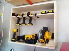 Cordless power tool storage station – a DIY project.- Cordless power tool storage station – a DIY project. How I would love to have all these tools, and the need to sop tore them! Power Tool Storage, Garage Tool Storage, Workshop Storage, Garage Tools, Shed Storage, Garage Organization, Diy Storage, Storage Ideas, Bedroom Storage