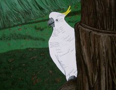 Acrylic and ink on wood, Cockatoo, by Carla Maxwell, Daylesford, Victoria, Australia, 2012. www.CarlaMaxwell.com
