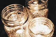 DIY Glitter Mason Jar Lights. New Year's Eve Party ideas, New Year's Eve decorations, festive DIY ideas, entertaining ideas, party decor ideas, New Years Eve at home.