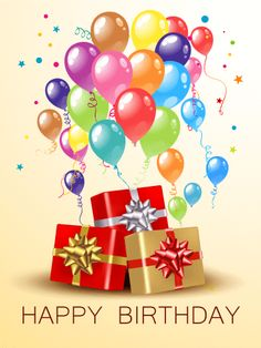 Birthday Balloons Gift Boxes Card