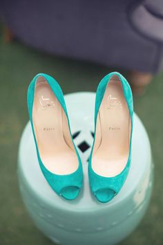 Christian Louboutin turquoise blue peep-toe heels | The Wedding Scoop Spotlight: Bridal Shoes - Part 1