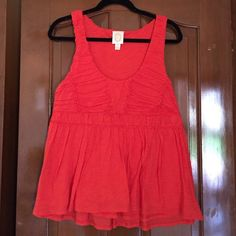 Anthropologie Orange Ric Rac Tucked Empire Tank Gorgeous details in this Anthro tank. I had this in multiple colors and never wore this orange one. In perfect condition, no flaws. Appearing more red in photos, but it is a darker orange. Cotton. Double layered, not sheer. Anthropologie Tops Tank Tops