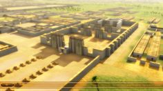 Artist's concept of the city of Akhetaten, showing the Great Temple to the Aten