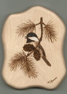 Wood-Burning Designs for Beginners Bird in Branch Wood Burning Crafts, Wood Burning Patterns, Wood Burning Art, Bird Drawing For Kids, Simple Bird Drawing, Pyrography Patterns, Wood Ornaments, Bird Drawings, Wood Creations