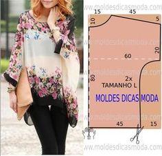 MOLDE DE TÚNICA FÁCIL -73 | Moldes Moda por Medida | Bloglovin'                                                                                                                                                                                 Mais
