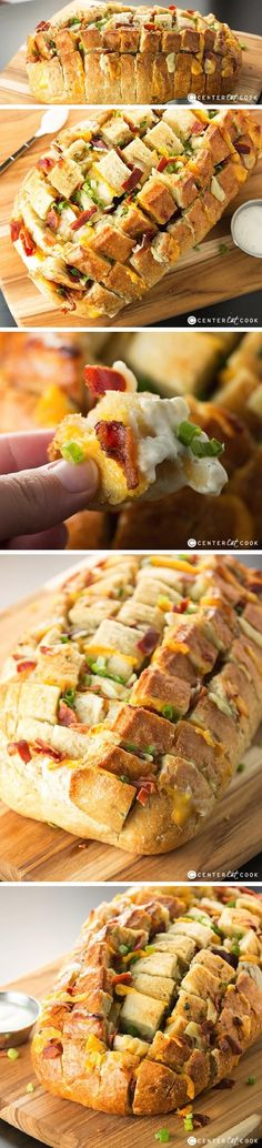 Bacon & CHEESE PULL APART BREAD with RANCH Dipping Sauce is ooey and gooey with lots of melty cheese, crispy bacon and homemade ranch dressing on the side! It's our version of the popular recipe that (Cheese Platter Winter) Bacon Recipes, Appetizer Recipes, Bread Recipes, Appetizers, Cooking Recipes, Homemade Ranch Dip, Homemade Ranch Dressing, Sandwiches, Pull Apart Bread