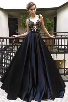 Sexy Black Applique Prom Dresses with Illusion Bodice,Satin A Line Evening Dresses,Prom Gowns