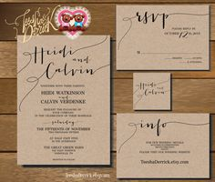 Printable Wedding Invitation Suite W0175 Consists Of And R S V P Card