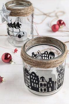 Gläser Upcycling - Windlichter basteln: Weihnachten ist die Zeit der Kerzen. Das Windlicht DIY eignet sich perfekt als kleines Weihnachtsgeschenk. Wer Weihnachten mit Kindern basteln möchte, findet hier eine einfache Möglichkeit.