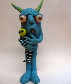 ooak monster art doll sculpture Jibby. $42.00, via Etsy.