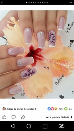 Nails Ideias, Flower Nail Art, Nail Arts, Manicure And Pedicure, Nail Art Designs, My Nails, Nail Polish, How To Make, Nice Nails