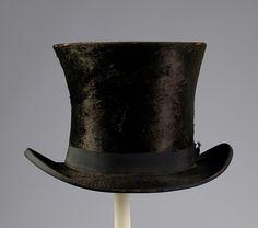 (c. 1850) American Olangan top hat made of fur and silk.