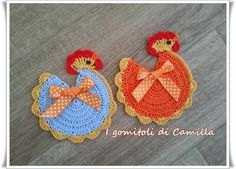 Crochet Towel Topper, Free Crochet, Crochet Hats, Crochet Placemats, Chickens And Roosters, Crochet Kitchen, Learn To Crochet, Camilla, Crochet Projects