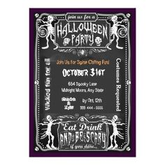 Halloween Eat Drink Be Scary Invitation Invites