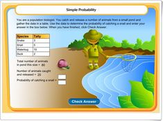 Here's an activity where students generate fractions based on experimental probability and then use these data to estimate probable numbers of animals in a pond. Math Fractions, Maths, Learning Sites, Homeschool Math, Homeschooling, 7th Grade Math, Interactive Learning, Guided Math, Teaching Math