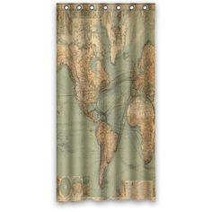 Unique and traditional design old world map waterproof polyester custom shower curtain 36 x 72 world map waterproof polyester fabric shower curtain nature gumiabroncs Gallery