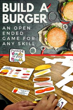 """Who doesn't love burgers!? This open ended game is perfect for reinforcement during drill/practice of skills like sight word drill, math facts drill, articulation drill, fluency drill, and answering questions. Each """"recipe"""" card tells what 6 ingredients are needed to """"build"""" that burger. The first player who collects all ingredients needed for his/her burger and places them between the buns, wins the game! #speechtherapygames #speechtherapyactivities #articulationgames #gamesforkids School Fun, High School, Burger Games, Phonological Processes, Articulation Therapy, Speech Therapy Activities, Good Burger, Special Education Teacher, Math Facts"""