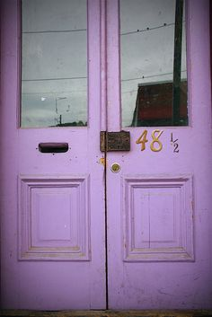lilac door in Eureka Springs