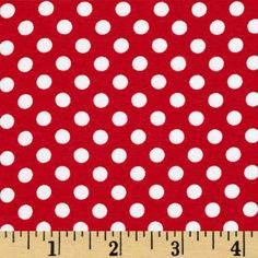 Riley Blake Knit Small Dots Red from @fabricdotcom  From Riley Blake Fabrics, this lightweight stretch cotton jersey knit fabric features a smooth hand and about a 75% four way stretch for added comfort and ease. It is perfect for making t-shirts, loungewear, yoga pants and more!