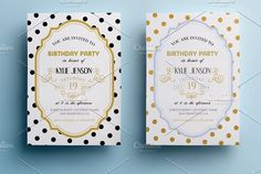 Elegant birthday party invitation II by annago on @creativemarket