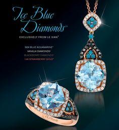 Le Vian® Sea Blue Aquamarine® Ring (ZUBV 264) and Pendant (ZUBV 265) in Strawberry Gold® accented with Ice Blue Diamonds, Blackberry Diamonds® and Vanilla Diamonds®.