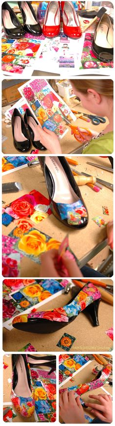 How to Decoupage Shoes - creative gift ideas & news at catching fireflies @ catchingfireflies.com