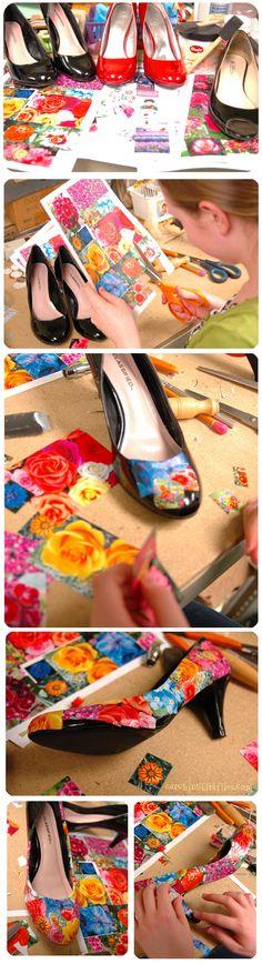 How to Decoupage Shoes - creative gift ideas & news at catching fireflies @ catchingfireflies.com