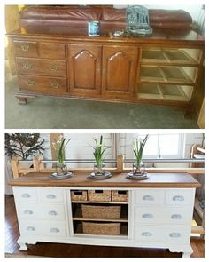 Finally had a chance to finish my buffet.  We had purchased this piece (the before photo) at a Saint Vincentdepaul store for 90.00 .  Solid oak Thomasville dresser.  In the before photo I had already taken the 3 right drawers out before I realized I needed a photo.  I stripped the top in our basement using a stripping product that was safe for using indoors. Painted 2 coats of a very light grey, and added new pull handles and decided to take middle doors off and added baskets to middle…