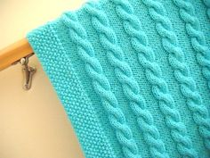 Baby blanket knitted cable pattern very by YellowFuzzyAndGreen, $45.00