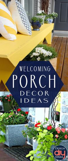 They say not to judge a book by it& cover, but what about the front door? It& the first impression guests have. Here are 15 porch decor ideas! House With Porch, Up House, Outside Living, Outdoor Living, Outdoor Projects, Home Projects, Front Door Porch, Front Porches, Front Doors