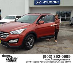 https://flic.kr/p/HfdBwf | Happy Anniversary to Linda on your #Hyundai #Santa Fe from Jane Smallwood at Texoma Hyundai! | deliverymaxx.com/DealerReviews.aspx?DealerCode=L967
