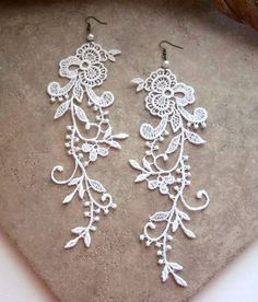 White lace earrings, $21 from Stitches From the Heart on Artfire