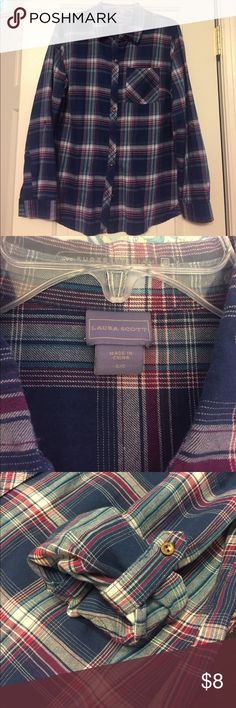 Laura Scott button up shirt blue, & white & purple plaid, barely worn, has roll-up button sleeves Laura Scott Tops Button Down Shirts