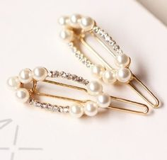 Smile Fashion Korean Alloy Pearls Rhinestone Hairpin Hair Clip Frog Clip ** For more information, visit image link.