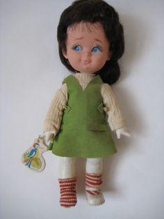 Vtg-1960-039-s-Herman-Pecker-big-eye-DOLL-green-mini-dress-imp-mod-retro-girl-w-Tag