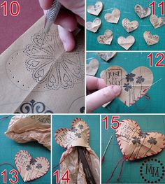 """DIY stuffed paper hearts. Another thing to go with the """"Hearts in a Jar"""" idea :)"""