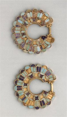 cloisonné earrings, susa acropolis 400 b.c. gold, lapis lazuli, turquoise. achaemenid persian period. by lucinda