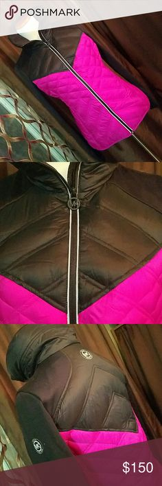 """MICHAEL KORS Small Hot Pink Quilted Down Jacket Brand: Michael by Michael Kors  Item: *Down Puffer Jacket w/ Strech Collar Shoulder & Sleeves *Thumb Holes *Logo on Left Arm & Back *Lovely MK Zipper *Machine Washable  Color: Hot Pink & Black  Size: Small  Measurements: Flat Armpit to Armpit - 20"""" Shoulder to Hem - 26""""  Materials: Body & Outer Shell 100% Nylon, Shoulder, Sleeves & Inner Collar 95% Poly, 5% Spandex.  Lining 100% Poly. Fill 80% Down, 20% Waterfowl Feathers  Condition: Excellent…"""