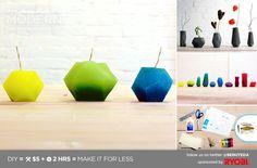 HomeMade Modern EP11 Bloktagons candles using printed templates