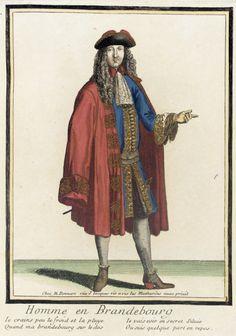 """1676-1683 French Fashion plate """"Recueil des modes de la cour de France, 'Homme en Brandebourg'"""" at the Los Angeles County Museum of Art, Los Angeles"""