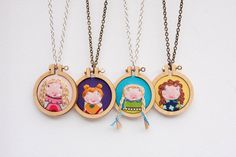 NEW DESIGNS (coming soon) mini embroidery hoop necklaces by 'dandelyne' on ETSY