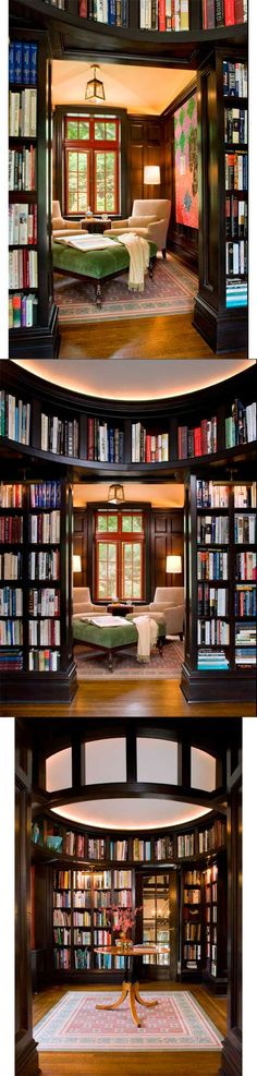 Three views of a library in a Greenwich, CT, estate. Interior design by Laurie S Woods. From houzz.com.