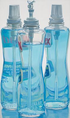 Janet Fish, Windex Bottles, Excellent resource for studies of glass reflection and light through translucent objects or liquids. Repetition of subject/forms Still Life Drawing, Painting Still Life, Still Life Art, Reflection Art, Observational Drawing, Ap Studio Art, Object Drawing, Ap Art, Photorealism